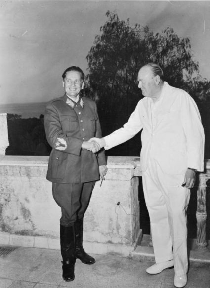 Marshal Tito and Churchill in Naples shake hands at the Villa Rivalta on 12th August 1944. (IWM, London, photographic collection 144)