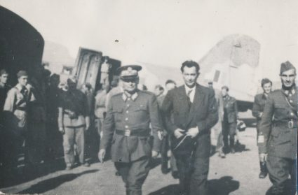 Marshall Tito welcomes the President of the Yugoslav Government in London, Šubašić, Vis, August 1944. (Military Museum, Belgrade, Collection of photographs, 14345)