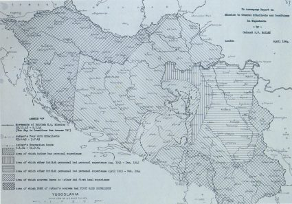 A map drawn by Colonel William Bailey illustrating the extent of the ground covered and known by S.O.E. officers operating from Serbia. (IWM, London, photographic archive, National Archives, London, Document HS7-202)