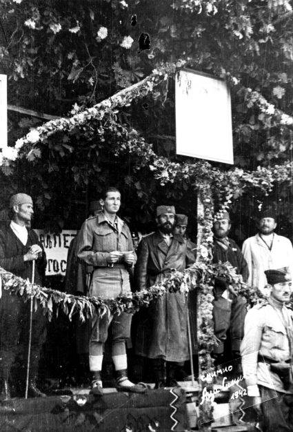 Captain Maynard delivers a speech to the 2nd Ravna Gora Corps on the King Peter II's Birthday 1943. (National Archives, London, Document HS7-202)