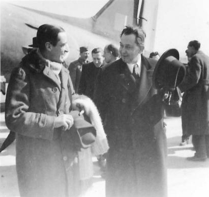 Ambassador Ralph Stevenson is welcomed by Prime Minister Subasić on his arrival in Belgrade on 12th March 1945. (IWM, London, photographic archive, NA23026)