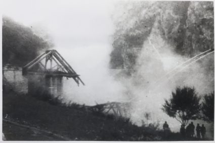 The Lim railway bridge as the charges are blown. (IWM, London, Documents archive 12697)