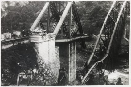 The Lim bridge after it had been destroyed. This was the largest bridge destroyed in Yugoslavia after the German invasion. The BBC would announce that the attack on the town and bridge was carried out by the Partisans. (IWM, London, Documents archive 12697)