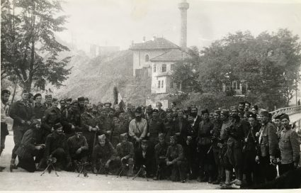 Immediately following the capture of Višegrad in the autumn 1943, a group of JVuO with members of both the S.O.E. and O.S.S. (IWM, London, Documents archive 12697)