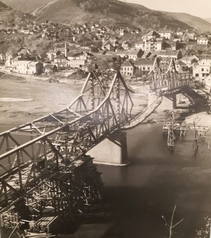 The Zvornik Bridge on the border between Serbia and Bosnia as it looked in 1943. (IWM, London, Documents archive 12697)