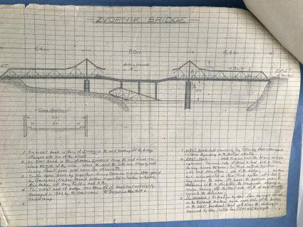 A sketch map of the same Zvornik Bridge drawn by Major Archie Jack. (IWM London, Documents archive 12697))