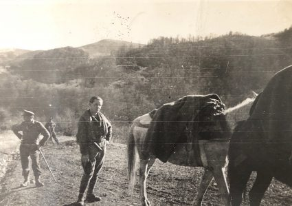 An S.O.E. officer with the JVuO takes a break next to mules laden with stores. (Personal photographic collection of Mr. Harry Fenney)