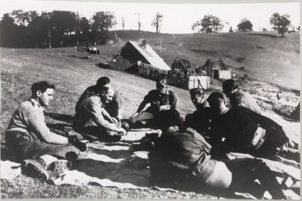 S.O.E. officers rest near Pranjane whilst awaiting their evacuation. (IWM, London, photographic collection 8905-16)