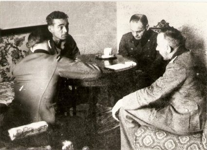 A British officer interrogates German officers shortly after their capture. (Stock Image)