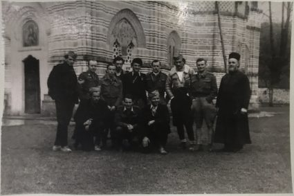 Major Jasper Rootham and his team with their escorts at Kalanik Monastery en route to Pranjane in May 1944. (IWM, London, photographic collection 8912-19)