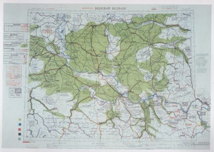 Map of the terrain around Belgrade showing how it can be approached in the event of an attack. This information was used by Partisans to great effect in the capture of the city. (IWM, London, photographic archive,)