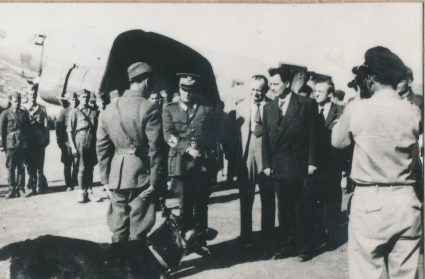 Josip Broz Tito and Šubašić at the airfield, Vis, July 1944. (Military Museum, Belgrade, Collection of photographs, 8789)