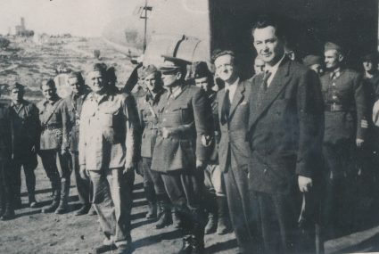 Ivan Ribar, Josip Broz Tito, Sava Kosanović and Šubašić on Vis, July 1944. (Military Museum, Belgrade, Collection of photographs, 8790)