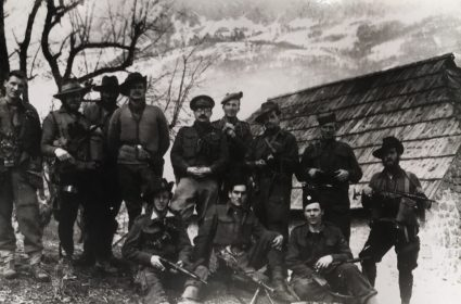 Colonel William Bailey (centre) and armed S.O.E. officers and NCO's in the mountains of Serbia. (National Archives, London, Document HS7-202)