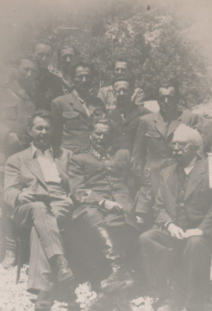 Marshall Tito with Šubašić and members of the National Committee at the signing of agreement on the creation of unified government, Vis, 16th July 1944. (Military Museum, Belgrade, Collection of photographs, 8791)
