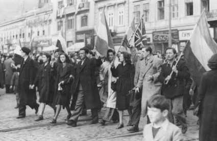 The Union Flag was very visible on the streets of Belgrade on 27th March 1941. (WW2 Stock Image)