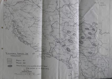 Drops Zones as marked on a map in Colonel Bailey's report dated April 1944. (National Archives, London, Document HS7-202)
